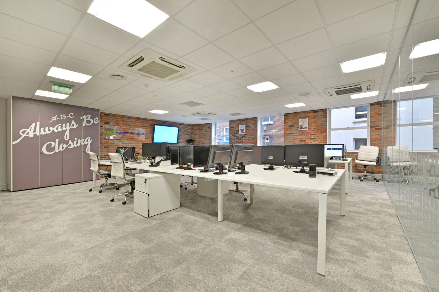 Maddox Street Office Fit Out Mayfair Communal Work Space Long Angle
